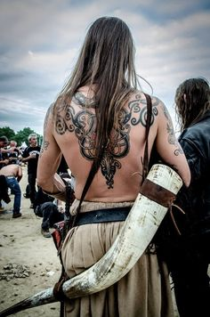 Viking Man with amazing horn (and tattoo)  ;)