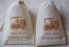 10 Vintage train choo choo thank you favor bags
