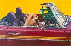 LOVE him! Another of Christine Warjone's DOGS LIVING LARGE series. Part of her July show at Silvercreek Art in Ketchum, Idaho. #art #travel