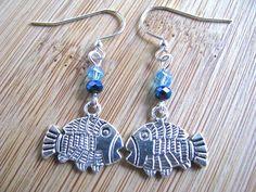 Beach Bling Silver Kissing Fish Earrings with Sea by joyaslindas3, $14.99