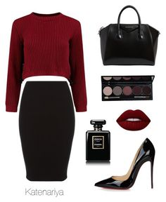 """Autumn look"" by katenariya ❤ liked on Polyvore featuring Christian Louboutin, Givenchy, Lime Crime and Chanel"