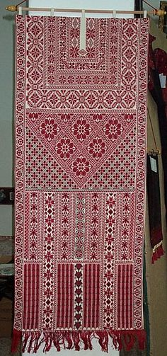 Wall hanging - Palestinian embroidery and cross stitch. Fine stitching and heavy work with details there. Cross Stitch Borders, Cross Stitch Designs, Cross Stitching, Cross Stitch Embroidery, Embroidery Patterns, Hand Embroidery, Cross Stitch Patterns, Machine Embroidery, Crochet Patterns