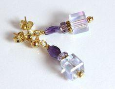 Amethyst and Crystal Earrings-Purple Mist, $15