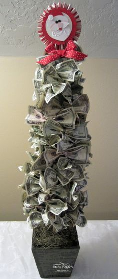 Money Tree - a great way to gift money without just putting it in an envelope! ***Would be a fun idea to do this for the work gift exchange on a smaller (cheaper) scale! *Ü*