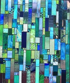 Items similar to Stained Glass window Sea Glass in blues and greens Window Panel Custom Ordered on Etsy Stained Glass Rose, Stained Glass Designs, Stained Glass Patterns, Stained Glass Windows, Mosaic Art, Mosaic Glass, Glass Photography, Crushed Glass, Window Art