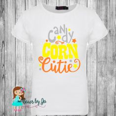 Candy Corn Cutie Orange, Yellow and Gray Vinyl Graphic Design on a white Tee Shirt