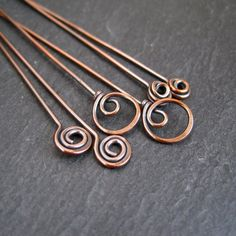 Antique Copper Headpins fancy headpins spiral by CinnamonJewellery, £4.85