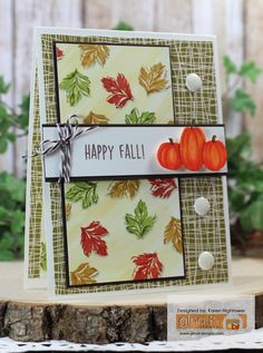 Gina K. Designs: *Stamp Sets - Painted Autumn & Give Thanks from the new Stamp TV Kit - Painted Autumn *Pattern Paper - Give Thanks from the STV Kit - Painted Autumn These items are available @ http://www.shop.ginakdesigns.com Made for Gina K. Designs By: Karen Hightower