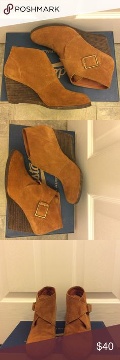 """Lucky Brand Bootie Wedge (Suede) Gently used Lucky Brand Tan Suede Wedges. Size 8B or 38. Shoes claim """"LEATHER Upper and Man Made Lining Sole"""". Smoke Free & Pet Free home. Lucky Brand Shoes Ankle Boots & Booties"""