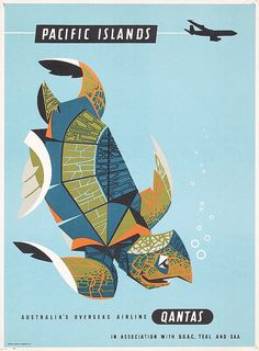 GREAT 1950s QANTAS Travel Poster PACIFIC ISLANDS TURTLE
