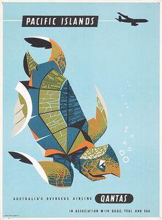 Vintage Travel Poster - Pacific islands - Turtle - 1950s - (Qantas).