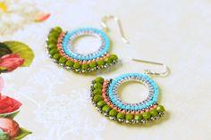 Olive Green Brick Stitch Hoop Earrings, Boho Earrings