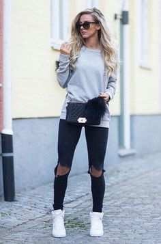 #spring #outfit black skinny ripped jeans grey sweater style