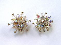 Aurora Borealis Glass and Rhinestone Cluster Earrings