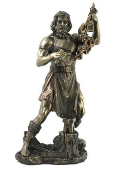 Hephaestus - Greek God of the Forge and Fire -Blacksmith God of the Forge and Weaving Statue Here the Greek God of Blacksmith's and Weaving proclaims his relationship with fire. A kind and gentle God, he won the hand of the beautiful Aphrodite. This statue identifies this Greek Deity with a name plate. U$64