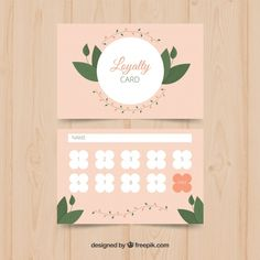 Loyalty card template with floral concep. Business Card Design, Business Cards, Loyalty Card Template, Member Card, Name Design, Vector Photo, Vector Free, Decorative Boxes, Floral Card