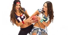 Pats Nation Nikki and 12th Man Brie rep the colors of the big game for this WWE.com gallery. Who you got in the sixth Bella Bowl?