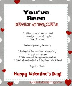 """heart attacked day ideas for workplace Valentine's Day Printable: """"You've Been Heart Attacked"""" Activity - Inspired by Family Teacher Morale, Staff Morale, Secret Valentine, Be My Valentine, Morale Boosters, Happy Hearts Day, Heart Day, Homemade Valentines, Staff Appreciation"""