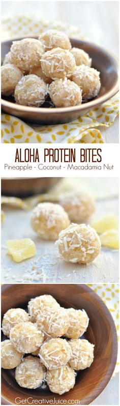 Aloha Protein Bites - Pineapple coconut and macadamia nut with vegan protein powder. These protein bites make a quick grab-and-go snack. These are made with all clean eating ingredients and can double as a light, healthy snack! Coconut Protein, Vegan Protein Powder, Protein Bites, Protein Ball, Protein Snacks, Aloha Protein, High Protein, Healthy Protein, Protein Energy