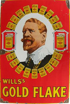 Antique WILLS GOLD FLAKE enamel sign - Dimensions: 36 x 24 inches  Stunning old cigarette advertising sign in excellent condition. High gloss surface (Prince Albert's face). Condition 90% + Circa 1900
