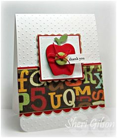 Teacher Thank You by PaperCrafty - Cards and Paper Crafts at Splitcoaststampers Teachers Day Card, Teacher Thank You Cards, Teacher Gifts, Thanks Teacher, Teacher Appreciation Cards, Fall Cards, Creative Cards, Kids Cards, Scrapbook Cards