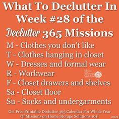 What to declutter in week #28 of the Declutter 365 missions {get a free printable Declutter 365 calendar for a whole year of missions on Home Storage Solutions 101!} Home Organization Hacks, Organizing Your Home, Clutter Control, Home Storage Solutions, Clutter Free Home, Feeling Overwhelmed, Getting Things Done, That Way, Cleaning Hacks