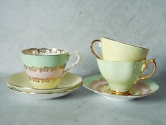 Candy Colored Teacups and Saucers  Vintage Tea by SwirlingOrange11, $93.00