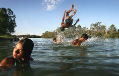 Kids having a swim in the Murray River