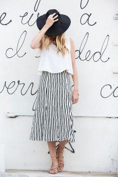 striped midi skirt, swing top, sarah sherman samuel.