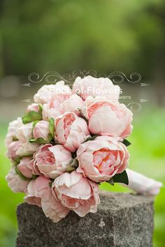 Pink Peony Bridal Bouquet Silk Artificial Peony by EdenOfFlower