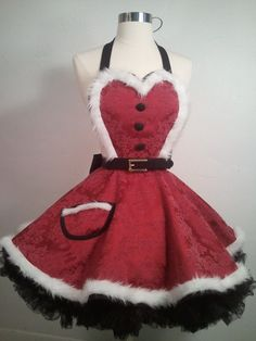 Mrs. Claus Christmas Apron In Cranberry by SassyFrasCollection