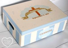 Items similar to Christening Baptism Gift for Girl Boy Personalized Baptism Newborn box on Etsy Baptism Gifts For Girls, Christening, Decoupage, Children, Box, Unique Jewelry, Handmade Gifts, Etsy, Young Children