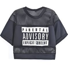 Black Contrast Hollow Mesh Yoke Letters Print T-Shirts Black Mesh Shirt, Black Collared Shirt, Short Sleeve Collared Shirts, Black Mesh Top, Black Short Sleeve Tops, Black Crop Tops, Cropped Tops, Black White, Crop Top And Shorts