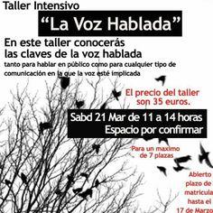 Las claves de la voz hablada, taller para hablar en público sábado 21 de marzo.    Taller la voz hablada Cecilia Fernández  https://www.facebook.com/events/1588808838043395/   Más información de eventos en  Granada Mario WhatsApp 616453927 extragrupo apuntesgr@gmail.com