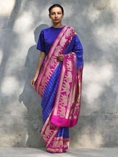 Buy Blue Pink Handwoven Silk Saree Sarees Woven Three Shuttle with majestic colors and temple motifs Online at Jaypore.com