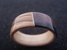 Wood ring  Zebrano and ebony bentwood ring lined by BastionAtelier