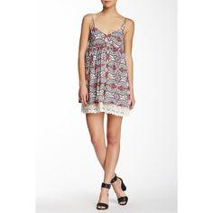 Paper Crane Crochet Hem Print Babydoll Dress ($17) ❤ liked on Polyvore featuring dresses, redcr, white smocked dress, crochet dress, v neck dress, paper doll dresses et white babydoll dress