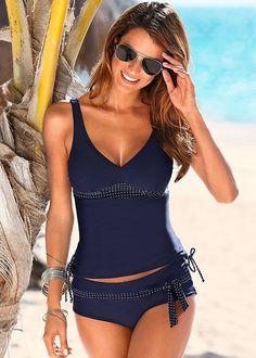 Venus Women's Low Rise Belted Moderate Bikini/Swimsuit Bottoms - Blue/white, Size 8
