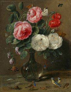 "https://flic.kr/p/aeaXi3 | Jan van Kessel the Elder (1669) Still life | ..so many little creatures amongst the flowers...  Jan van Kessel the Elder [Flemish still life painter and draughtsman, 1626-1679]   ""Still life of roses in a glass vase with numerous insects, including butterflies, a ladybug, a  bee and a dragon fly, together with further insects and small songbirds, including two bluetits""  oil on oak panel. 22.5 by 17.2 cm.; 8 7/8 by 6 3/4 in  Biography…"
