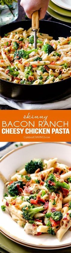 Skinny Cheesy Bacon Ranch Chicken Pasta is an easy flavorful pasta and an all time FAMILY FAVORITE with ranch chicken in a lightened up cheesy ranch sauce - with BACON, broccoli and bell peppers!