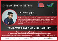 Motivational Talk on Business Success and Leadership for SME's by Shikhar Prajapati (India's favourite Motivational Speaker & Corporate Trainer) in Jaipur.  visit - http://www.shikharprajapati.com