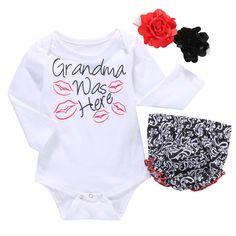 35dd3cc46e35 Grandma Was Here 3Pcs Baby Girl Newborn