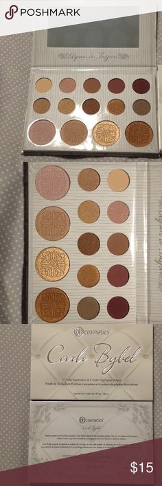 NIB by Cosmetics Carli Bybel palette NIB by Cosmetics Carli Bybel palette. Includes 10 eyeshadows and 4 highlighters. Beautiful neutral colors for creating natural or dramatic looks. Never swatched, tested, etc. brand new in box. bh cosmetics Makeup