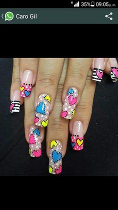 Pin by Maria LaPoint on Nails Manicure Nail Designs, Toe Nail Designs, Nail Manicure, Cute Spring Nails, Cute Nails, Pretty Nails, Nail Swag, Acrylic Nail Tips, Valentine Nail Art