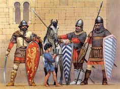 From left to right, Byzantine Greek warrior, Epirote Greek warrior from the Despotate of Epirus, Byzantine or Bulgarian warrior
