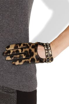 Valentino Rockstud leather and calf hair gloves NET-A-PORTER.COM