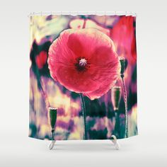 Poppies(expression). Shower Curtain by Mary Berg - $68.00 #showercurtains #society6 #poppies #purple #bordo #bathroom #home #homedesign