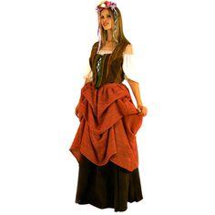 Fermière Médiévale code produit : 943-065 4 pièces : Jupe, Sur-Jupe, Corsage et Gilet. Taille(s) : 42