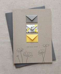 Get Well Soon  Tiny Envelopes Card with Custom by LemonDropPapers (Cute!)