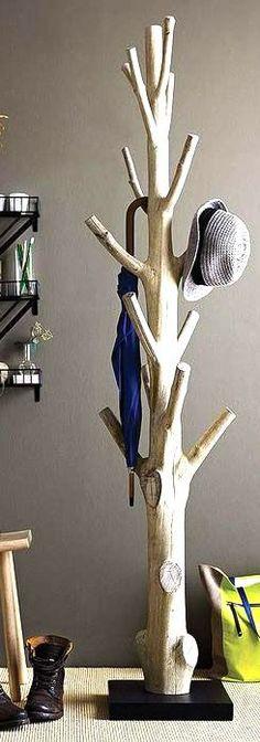 Wood tree coat rack, Rustic home decor idea #affiliate #entryway #farmhouse #furniture #decoration #ideas
